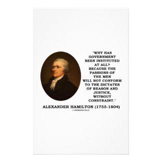 Alexander Hamilton Government Passion Constraint Stationery Design