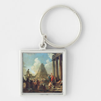 Alexander III  the Great before the Tomb Silver-Colored Square Key Ring