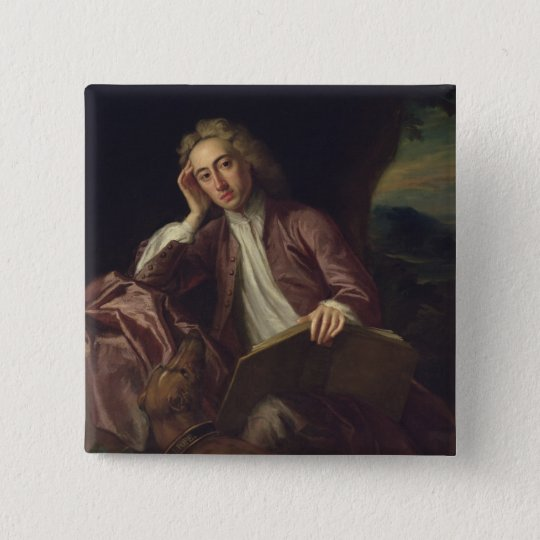 Alexander Pope and his dog, Bounce, c.1718 15 Cm Square Badge