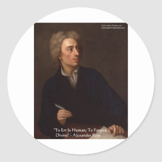 "Alexander Pope ""To Err Human"" Wisdom Quote Gifts Sticker"