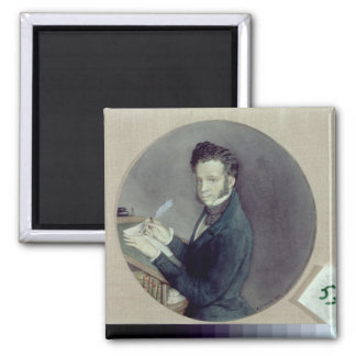 Alexander Pushkin  at Work, 1899 Square Magnet