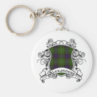 Alexander Tartan Shield Basic Round Button Key Ring