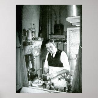 Alexander Watt in kitchen 1950s Poster