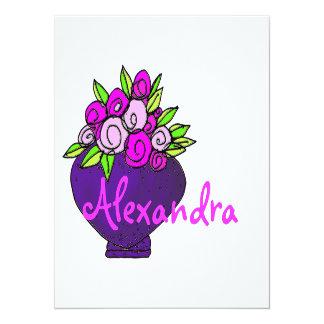 Alexandra Floral Bouquet Flat Personalized Note Ca 14 Cm X 19 Cm Invitation Card
