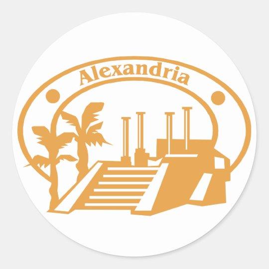 Alexandria Stamp Classic Round Sticker