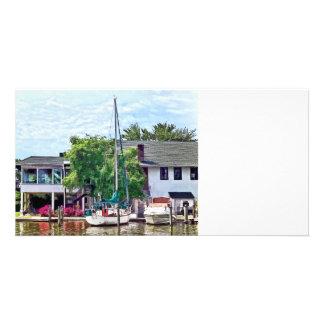 Alexandria VA Docked Boats Custom Photo Card