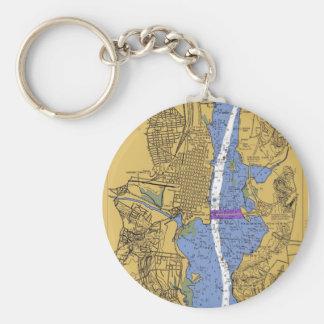 Alexandria VA Nautical Harbor Chart Keycha Key Ring