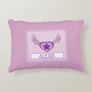 Alexis Cute Girly Heart and Wings Accent Pillow