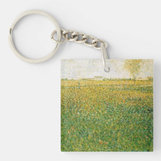 Alfalfa Fields Saint Denis by Georges Seurat Double-Sided Square Acrylic Key Ring