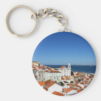 Alfama, Lisbon, Portugal Basic Round Button Key Ring