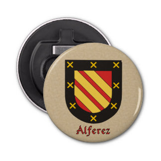 Alferez Heraldic Arms on Parchment Style Back Bottle Opener