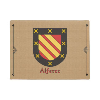 Alferez Historical Shield on Burlap Background Doormat