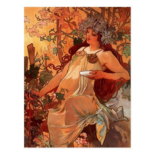 Alfons Mucha Art Nouveau Autumn Painting Postcard