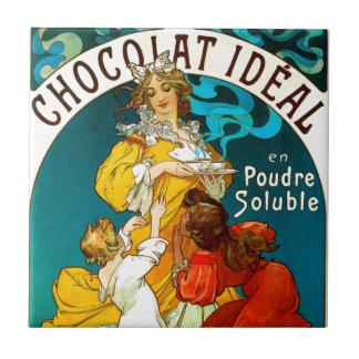 Alfons Mucha Chocolat Idéal Children illustration Small Square Tile
