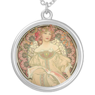 Alfons_mucha F. Champenois Imprimeur-Editeur 1897 Silver Plated Necklace
