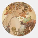 Alfons Mucha - Fruit Round Sticker