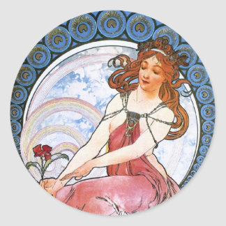 Alfons Mucha: Muse of Painting Round Sticker