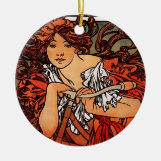 Alfons Mucha Perfecta Christmas Ornament