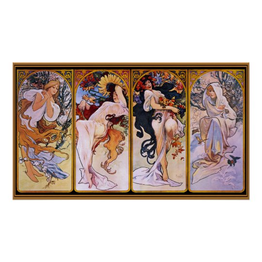 Alfons Mucha ~ The four seasons Poster