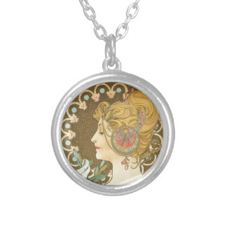 Alfons Mucha Woman in Profile Feather 1899 Silver Plated Necklace