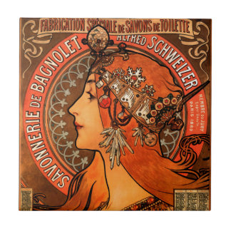 Alfons Mucha woman in profile painting savonnerie Small Square Tile