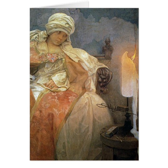 Alfons Mucha ~ Women with Burning Candle Greeting Card