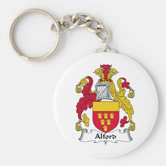 Alford Family Crest Basic Round Button Key Ring