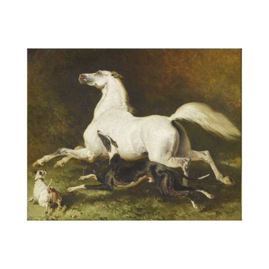 Alfred Dedreux: Galloping horse and dog Canvas Print