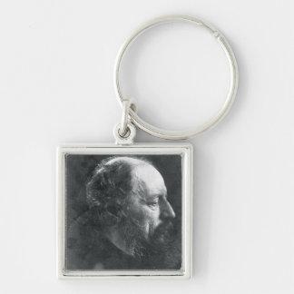 Alfred, Lord Tennyson (1809-92) c.1868 (albumen pr Silver-Colored Square Key Ring