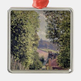Alfred Sisley   A Road in Louveciennes Silver-Colored Square Decoration