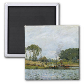 Alfred Sisley   Boats at the lock at Bougival Square Magnet