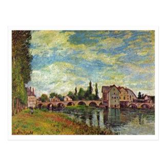 Alfred Sisley Brücke, Mühle v Moret im Sommer 1888 Postcard