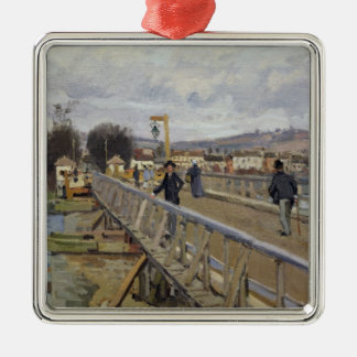 Alfred Sisley | Footbridge at Argenteuil Silver-Colored Square Decoration