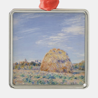 Alfred Sisley | Haystack on the Banks of the Loing Silver-Colored Square Decoration