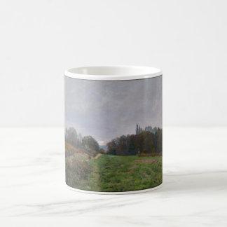 Alfred Sisley - Landscape at Louveciennes 1873 Basic White Mug