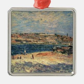 Alfred Sisley   River Banks at Saint-Mammes Silver-Colored Square Decoration