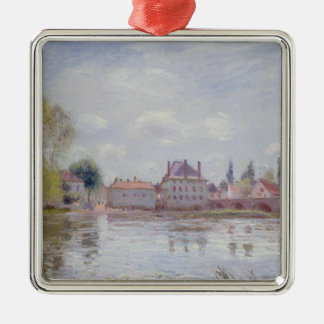 Alfred Sisley | The Bridge at Moret-sur-Loing Silver-Colored Square Decoration