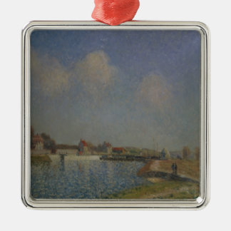 Alfred Sisley | The Loing at Saint-Mammes Silver-Colored Square Decoration