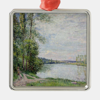 Alfred Sisley   The Riverside Road from Veneux Silver-Colored Square Decoration