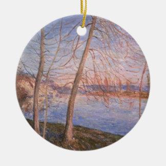 Alfred Sisley   Winter Morning Round Ceramic Decoration