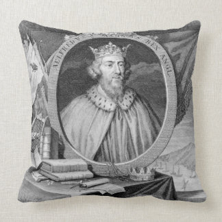 Alfred the Great (849-99) King of Wessex, engraved Cushion