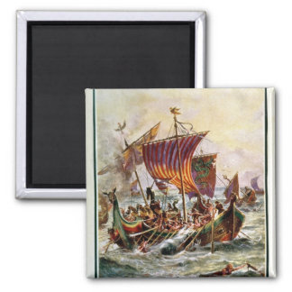 Alfred's galleys attacking the Viking Dragon Square Magnet
