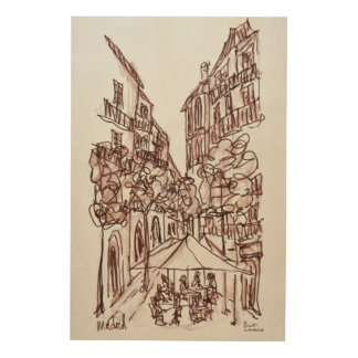 Alfresco Dining in the Evening | Madrid, Spain Wood Print