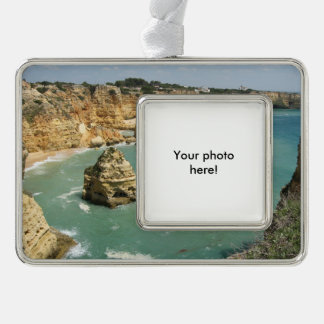 Algarve, Portugal, Benagil beach and rocks Silver Plated Framed Ornament