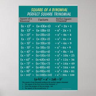 Algebra: Binomial Perfect Square Trinomial Poster