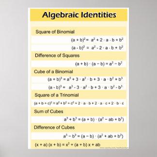 Algebraic Identities High School Math Poster