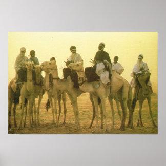 ALgeria, Camel riders in the desert Poster