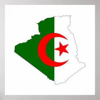 algeria country flag map shape symbol silhouette poster