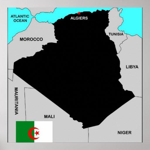 algeria country political map flag poster
