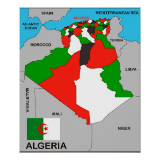 algeria country political map flag poster
